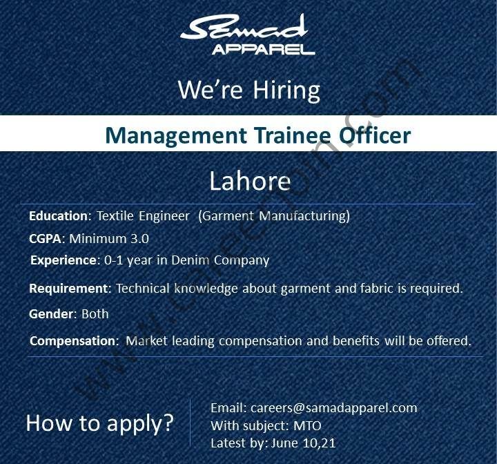 Samad Apparel Jobs 2021 in Pakistan