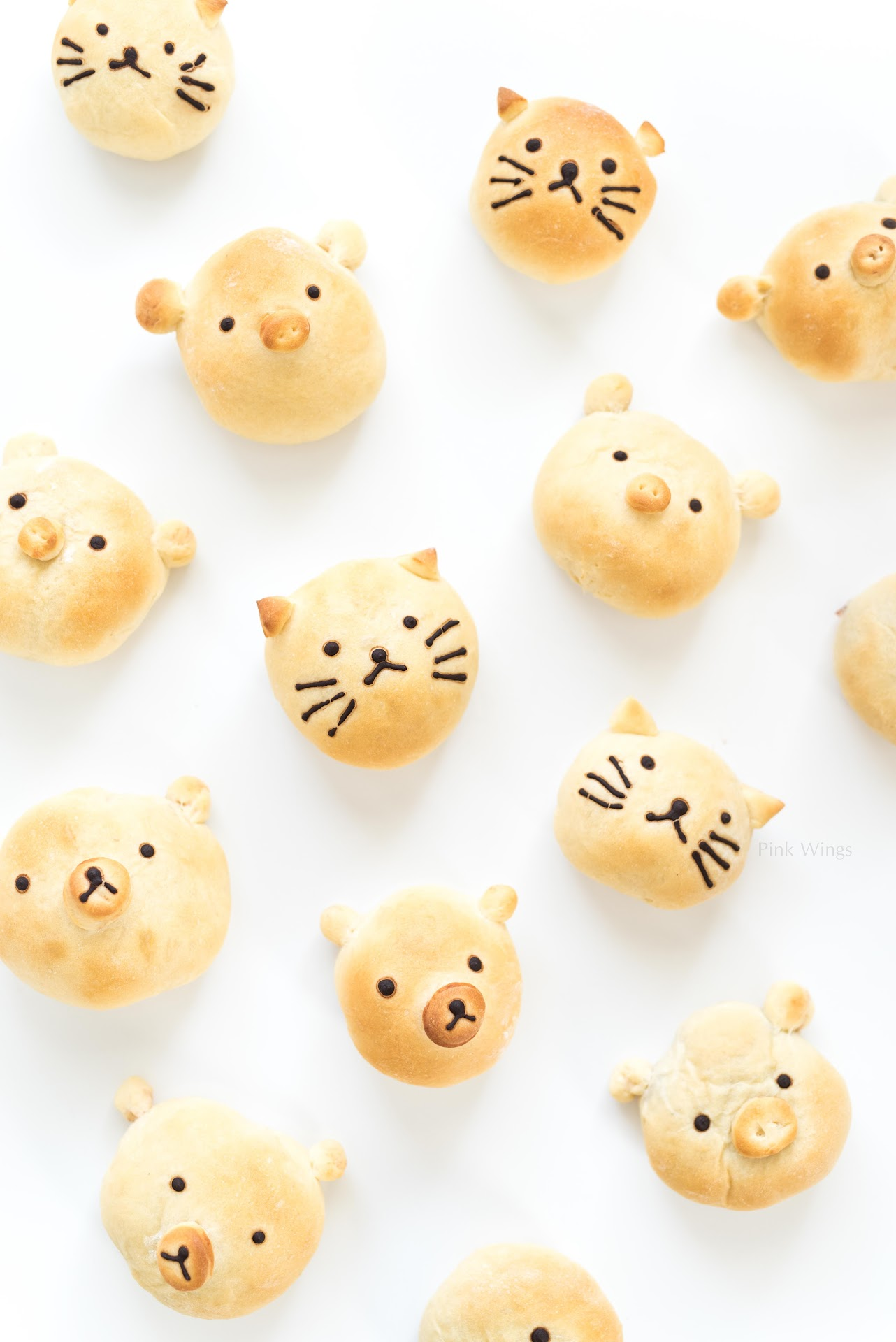 kawaii food, kawaai recipe, animal bread, asian buns, pig bread, cat bread, bear bread, recipes with sweet red bean paste, food for kids, zoo food, zoo party ideas, animal party, barn, unique bread recipes