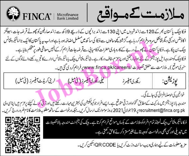 FINCA Microfinance Bank Jobs 2021 – www.finca.pk/careers