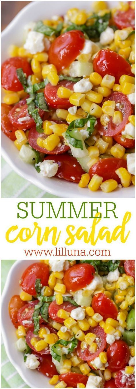 This Summer Corn Salad is a light, flavorful salad filled with corn, tomatoes, feta, basil and cucumber. It's so simple and quick that it's perfect for get togethers and BBQs.