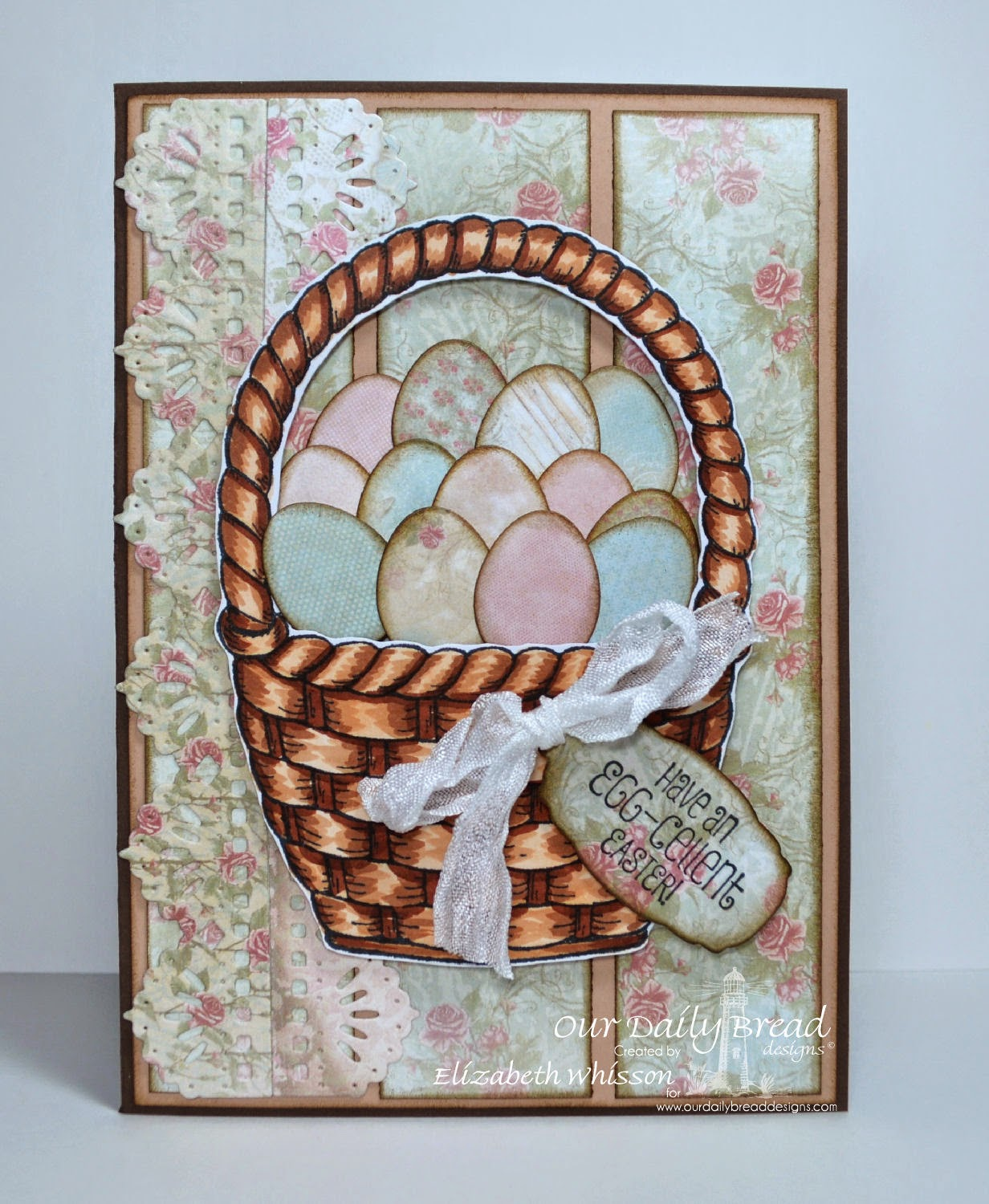 Our Daily Bread Designs, Basket of Blessings, ODBD Eggs Dies, ODBD Beautiful Borders Dies, ODBD Mini Tags Dies, ODBD Shabby Rose Paper Collection, Designed by Elizabeth Whisson
