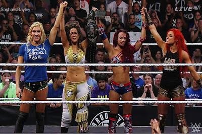 Becky Lynch, Sasha Banks, Charlotte, and Bayley in the ring together