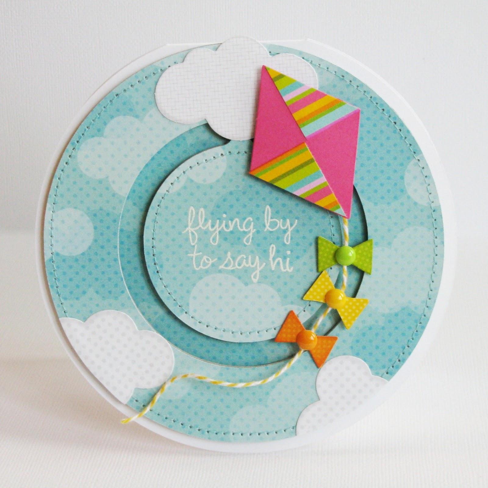 Doodlebug Design & Lori Whitlock Penny Slider Card Circle Kite Card by Mendi Yoshikawa