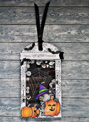 Happy Meow-oween by Fikreta features Newton's Perfect Pumpkin by Newton's Nook Designs; #inkypaws, #newtonsnook, #halloweencards, #catcards, #cardmaking