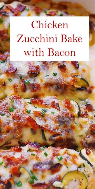 Chicken Zucchini Bake with Bacon #Bacon #Cheese #Chicken #Dinner #GlutenFree #Mozzarella #Parmesan #Recipe #Vegetables #Zucchini