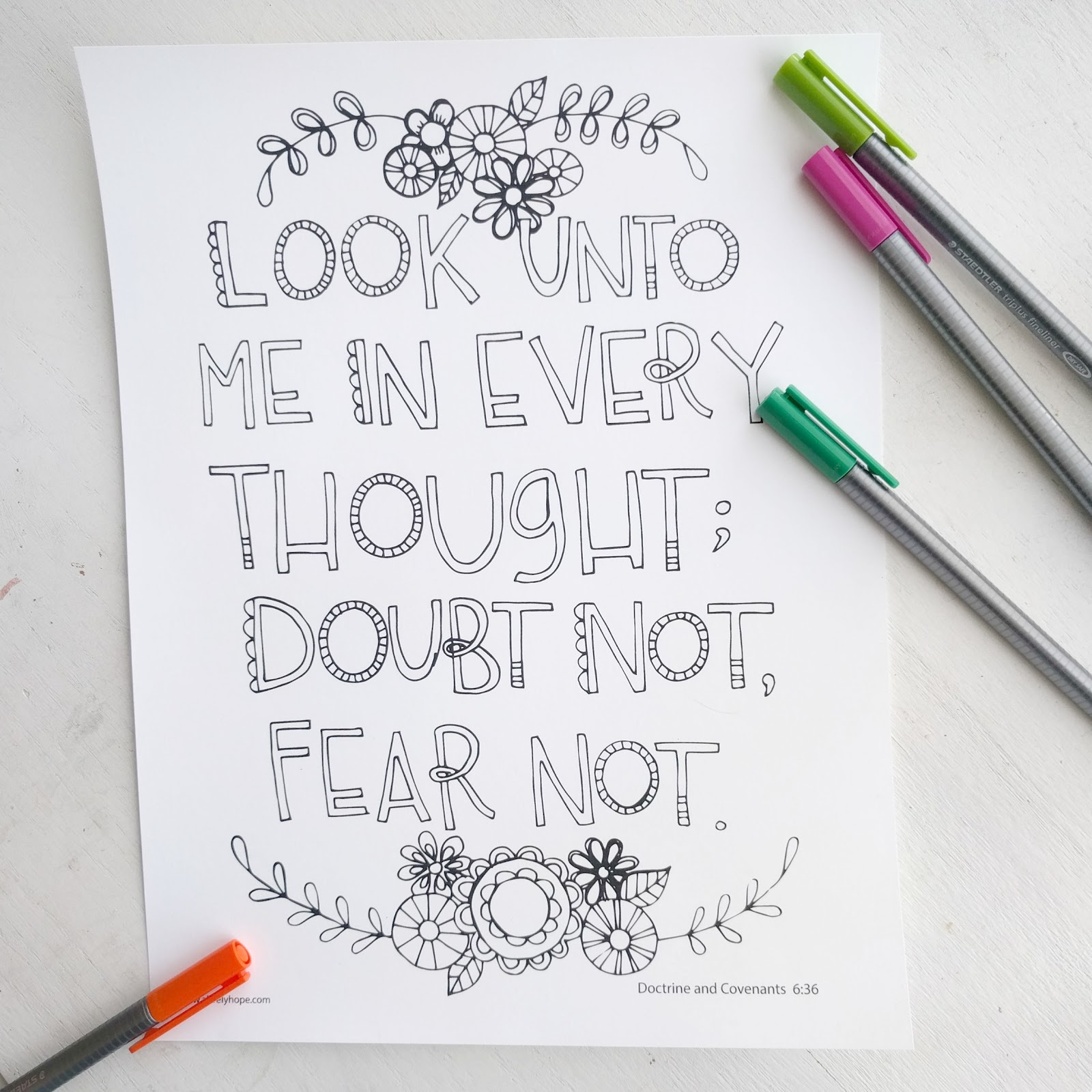 Look Unto Me In Every Thought Doubt Not Fear Free Coloring Page