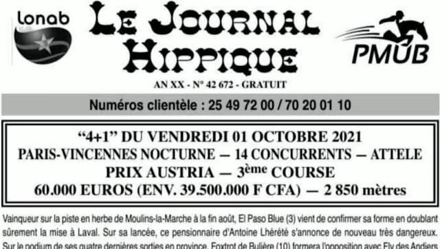 programme quinté Pronostic vendredi 01/10/2021