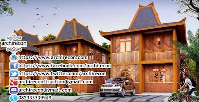Hunian Minimalis Dengan Gaya Arsitektur Rumah Jawa - Tampak Keseluruhan Bangunan