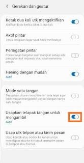 Mengaktifkan palm Swipe Gesture Samsung m11