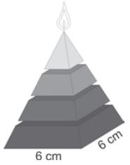 ENEM 2009: Uma fábrica produz velas de parafina em forma de pirâmide quadrangular regular com 19 cm de altura e 6 cm de aresta da base.