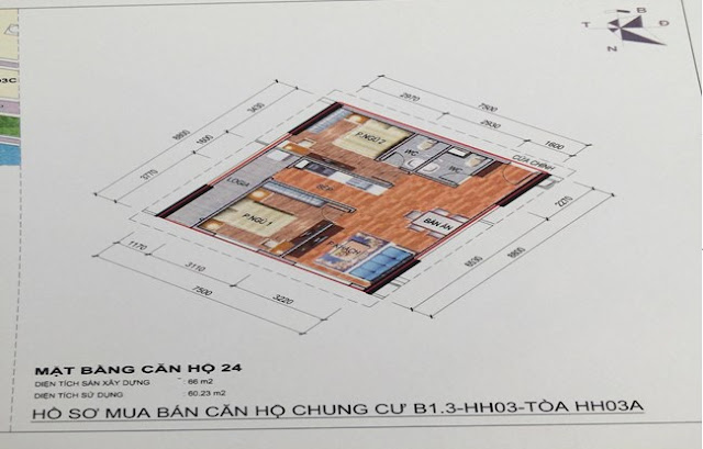 Sơ đồ thiết kế căn hộ 24 chung cư B1.3 HH03A Thanh Hà Cienco 5