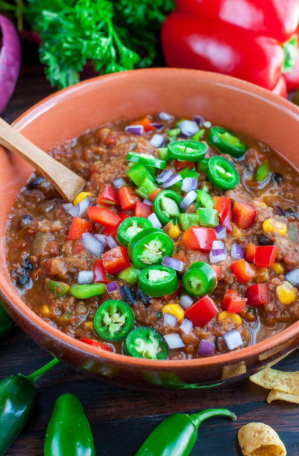 VEGAN LENTIL CHILI #vegan #vegetarian #chili #paleo #food