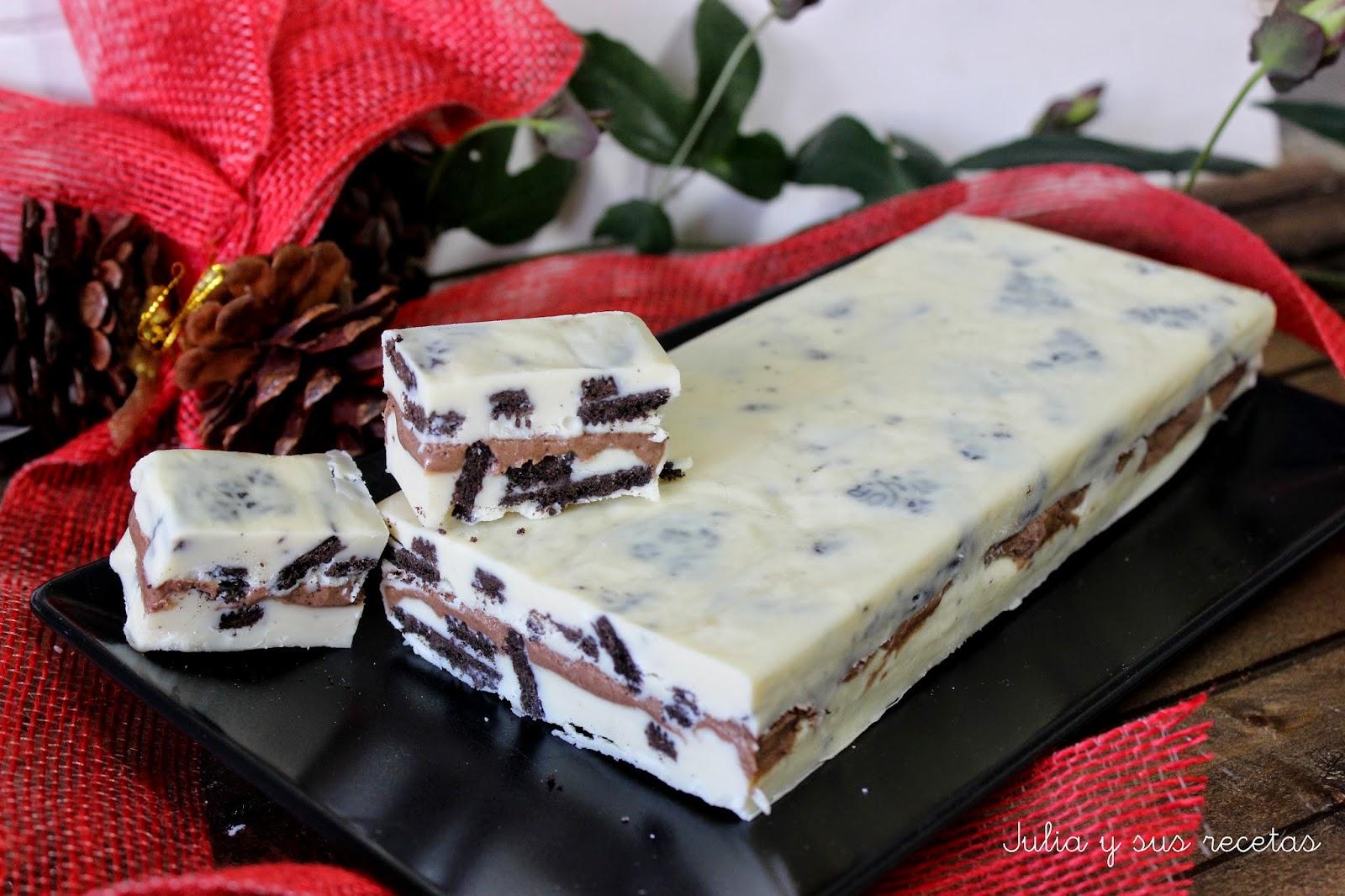 Turrón de chocolate blanco y galletas oreo. Julia y sus recetas