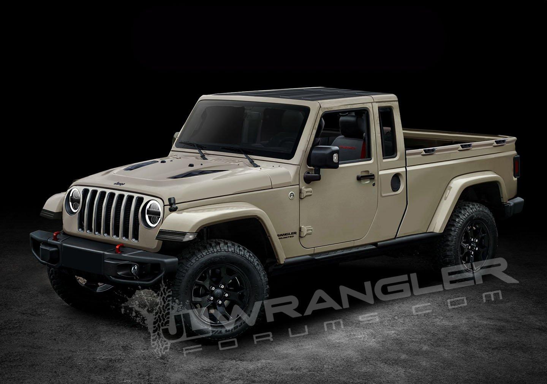 2019 jeep wrangler pickup looks scrambler rific in latest renderings carscoops. Black Bedroom Furniture Sets. Home Design Ideas
