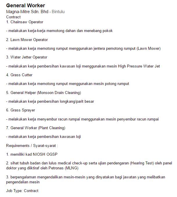 Oil &Gas Vacancies: General Worker- Magna-Mitre Sdn  Bhd