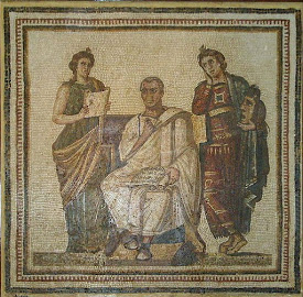 A 3rd century Roman mosaic depicting Virgil with the muses Clio and Melpomene