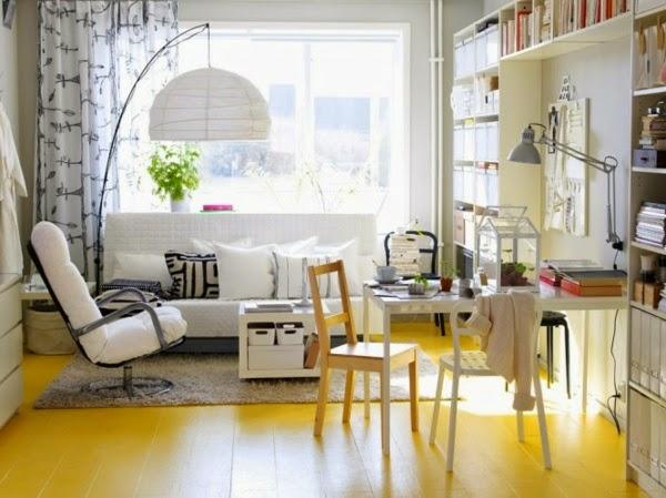 en color gris en las paredes con el amarillo resaltando los muebles