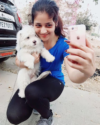 Priyanka taking selfie with dog