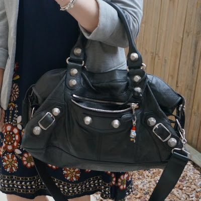 Balenciaga part time in black 2010 with SGH with navy floral dress | awayfromblue