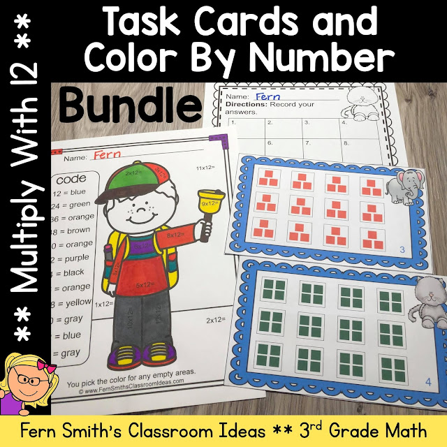 Multiply With 12 Color By Number and Task Card Bundle #FernSmithsClassroomIdeas