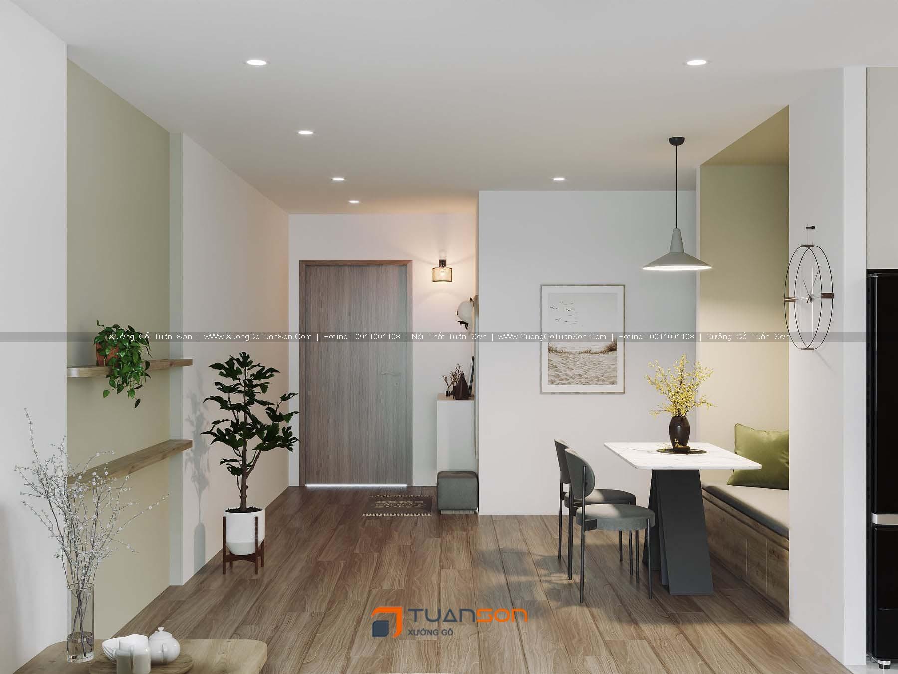 Thiết kế nội thất căn số 07 (73.9m2) 2PN Phương Đông Green Park