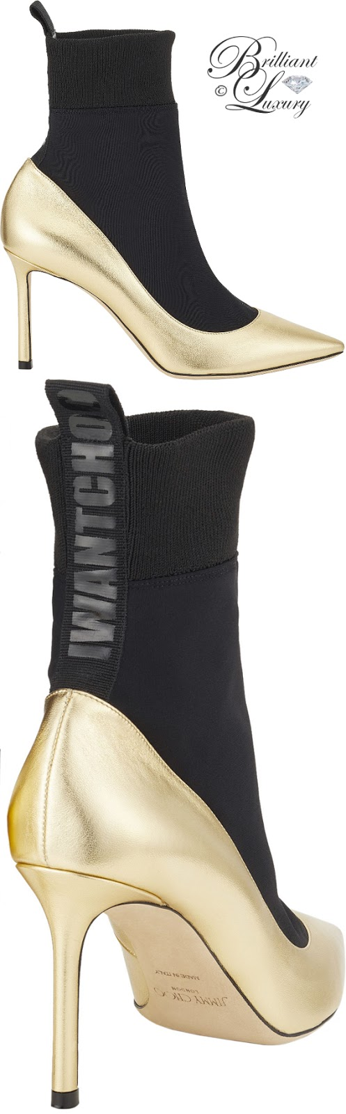Brilliant Luxury ♦ Jimmy Choo gold metallic nappa leather and black stretch fabric sock ankle boots