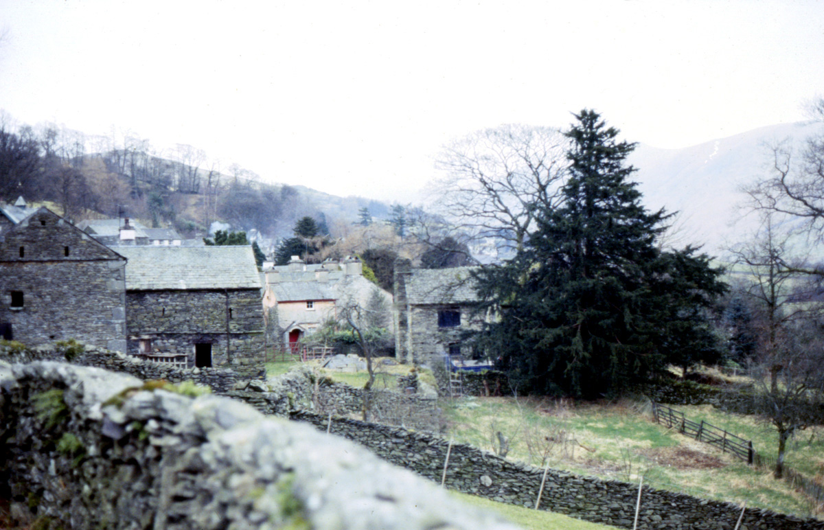 A Lake District Village of gray stone and pink stucco