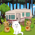 Games4King Cute White Cat Rescue