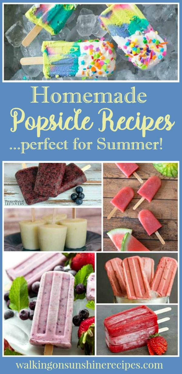 Homemade Popsicle Recipes featured on Walking on Sunshine