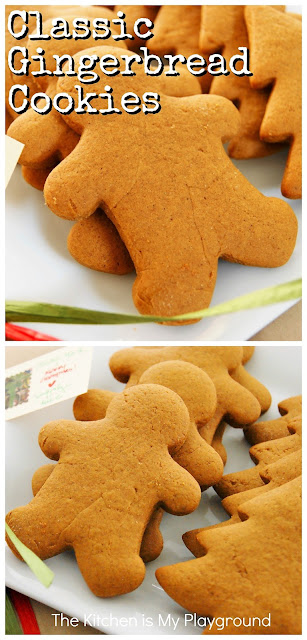 Classic Gingerbread Cookies ~ The BEST classic gingerbread cookies recipe for soft cookies!  It just wouldn't be Christmas without a batch of these tasty little beauties. #gingerbread #gingerbreadcookies #christmascookies  www.thekitchenismyplayground.com