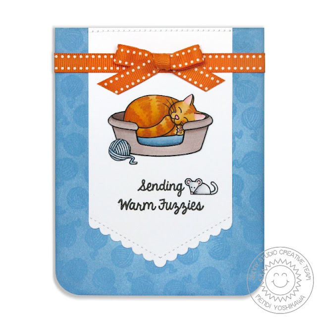 Sunny Studio Stamps: Pet Sympathy Sending Warm Fuzzies Orange Tabby Cat Card by Mendi Yoshikawa