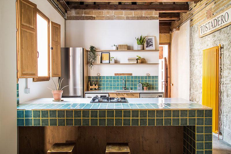 Cocina moderna de obra de estilo industrial