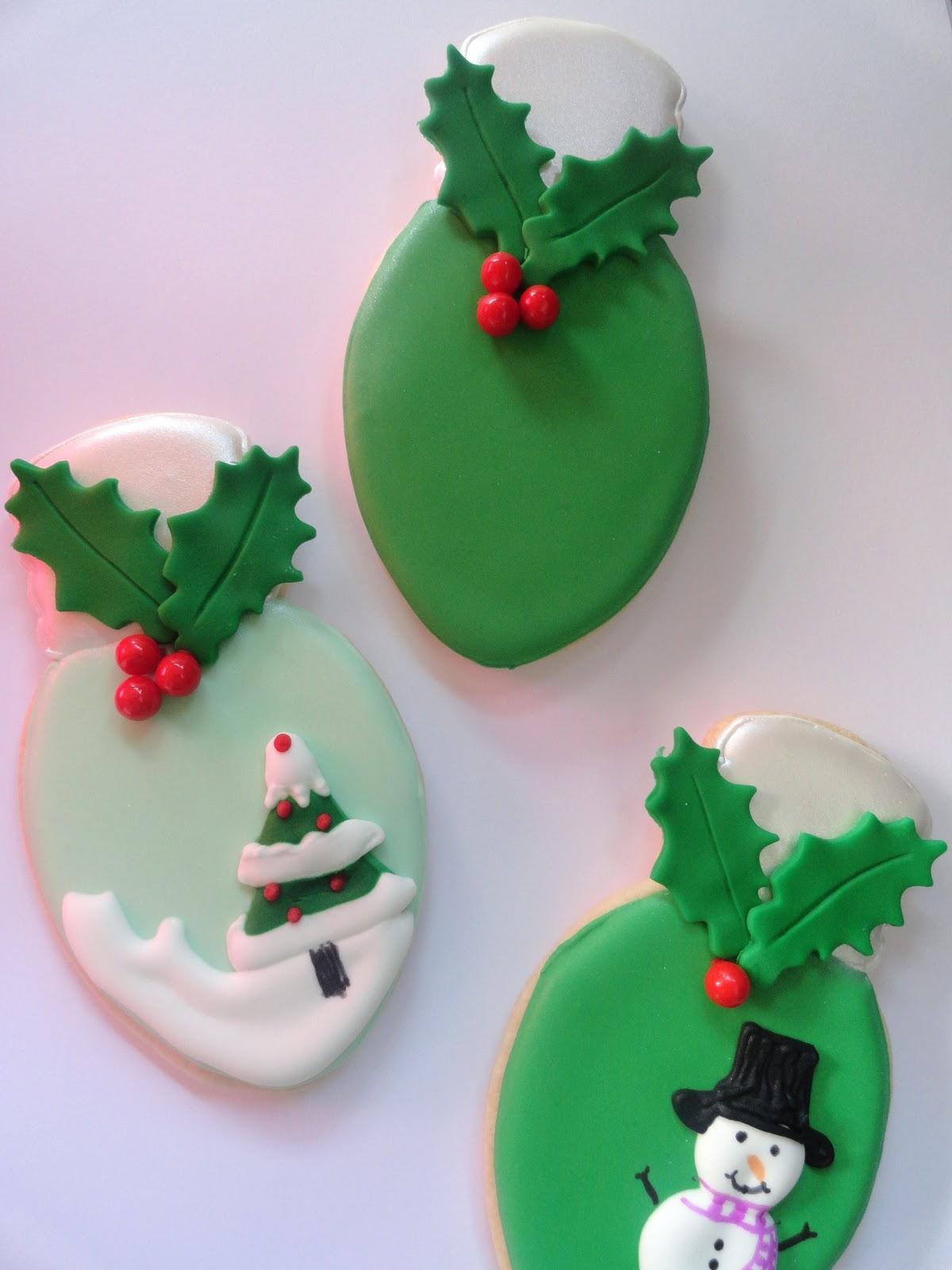 Pink Little Cake Christmas Light Bulb Cookies