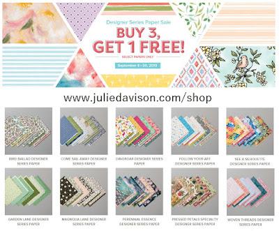 September 2019: Stampin' Up! Annual Catalog Designer Paper Sale: Buy 3, Get 1 FREE ~ www.juliedavison.com/shop