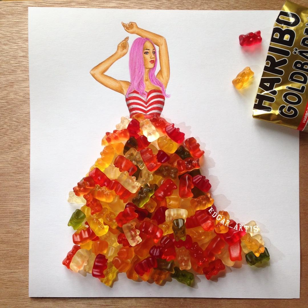 08-Gummy-Bears-Edgar-Artis-Drawings-that-use-Flowers-Food-and-Objects-www-designstack-co