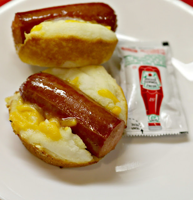 Cheesy Hot Dog Muffins on Plate with Ketchup Packet