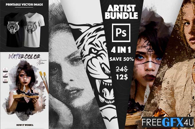 4 in 1 Artist Bundle Photoshop Actions