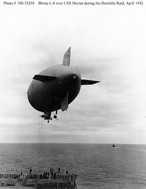 US Navy Airship L-8 delivers supplies to USS Hornet on 4 April 1942 worldwartwo.filminspector.com