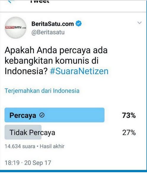 Berita Satu Adakan Polling, Hasilnya 73% Netizen Percaya Kebangkitan PKI
