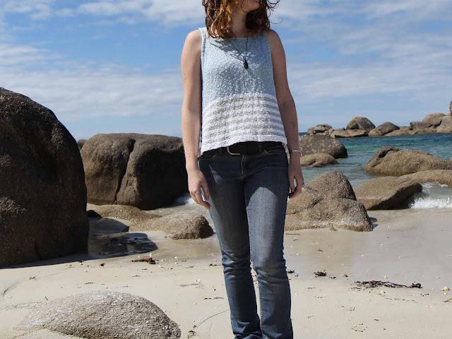 Top d'été tricoté en coton et acrylique