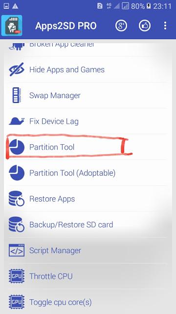 Buka App2sd kemudian izinkan akses root buka menu Partition tool lihat gambar Apps2SD Pro