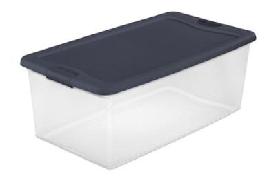 medium blue lid storage bin