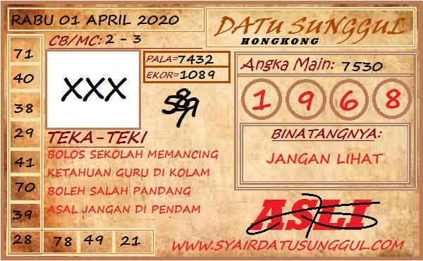 Bocoran HK Malam Ini Rabu 01 April 2020 - Datu Sunggul HK