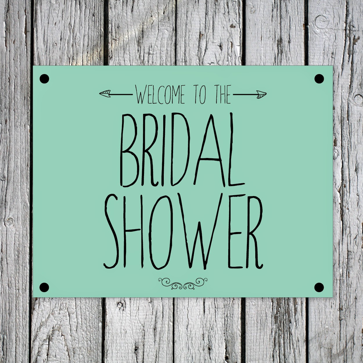 Welcome to the Bridal Shower Printable Green Sign