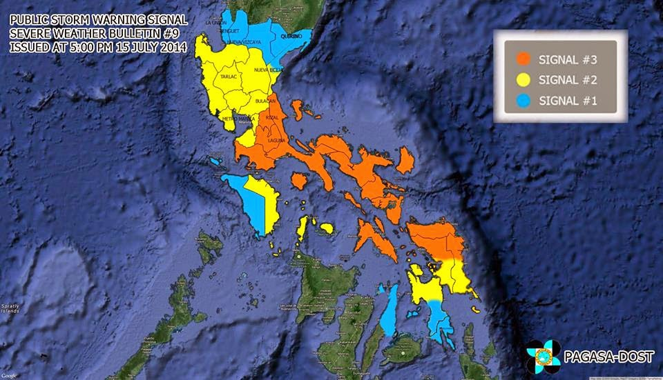 PAGASA raised PUBLIC STORM WARNING SIGNAL (PSWS) to the following areas
