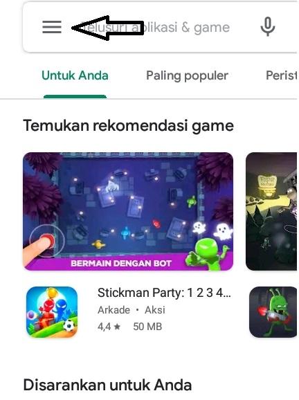 Menu Setting Google play store