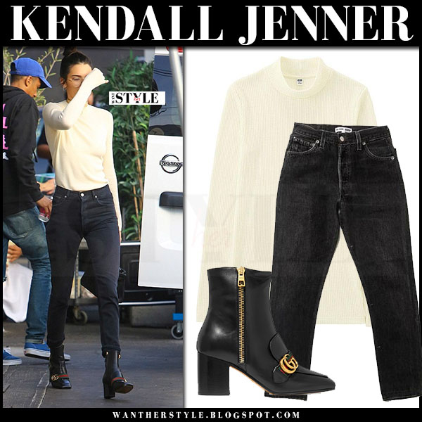 Kendall Jenner in cream knit turtleneck sweater uniqlo, black skinny jeans and black ankle boots gucci peyton what she wore