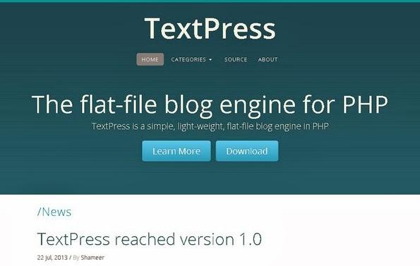 TextPress flat-file blogging software
