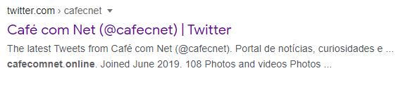 Twitter do Café com Net ao pesquisar sobre o site