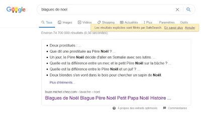 Recherche Google et les blagues de Noël